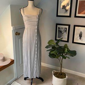 Striped midi linen dress